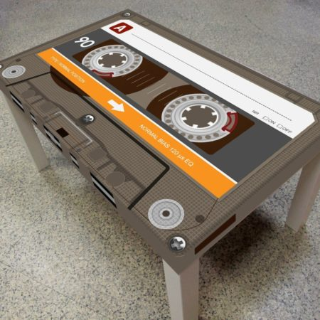 cool coffee table that looks exactly like a cassette tape