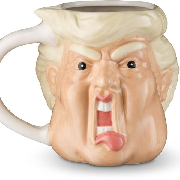 funny coffee mug with donald trump's scowling face on it