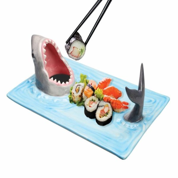 cool sushi serving platter with a shark on it with an open mouth for soy sauce