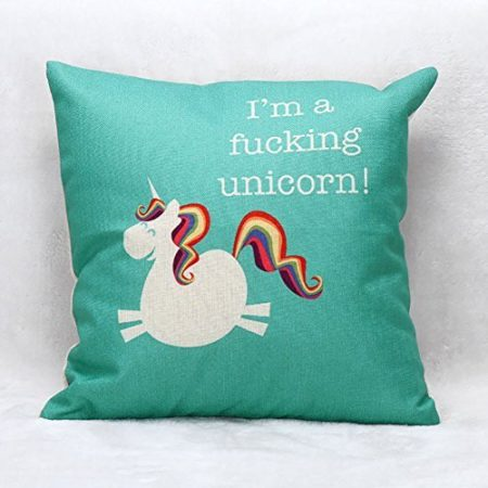"funny pillow sham that says ""I'm a fucking unicorn"" and has a picture of a unicorn on it"