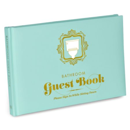 funny book to have guests sign and document their time in your bathroom